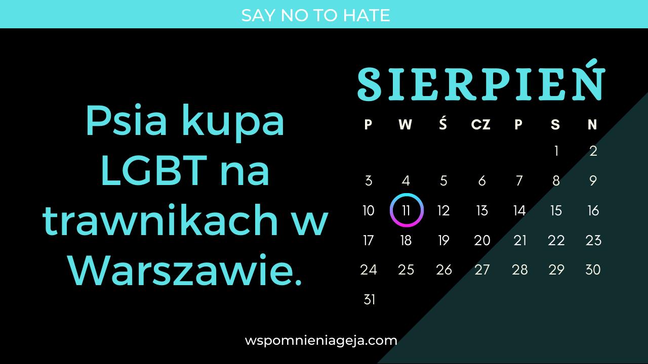 Psia 🐕 kupa 💩 L.G.B.T. na trawnikach w Warszawie.